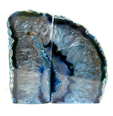 Blue Agate and Quartz Crystal Bookends Extra Large Polished Geode Section 2087g