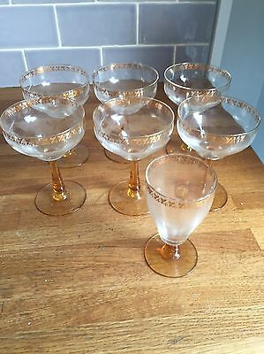 Vintage Wine Glasses With Gold Leaf And Amber Stems