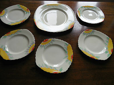 Art Deco  Grindley Cake Plate with Five Tea Plates
