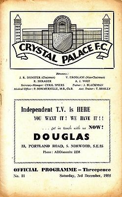 CRYSTAL PALACE v BOURNEMOUTH 1955/56 DIVISION 3 SOUTH