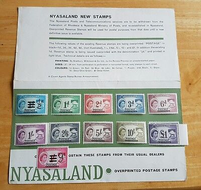 Nyasaland 1963 Rev OPT Postage MNH plus original marketing brochure.