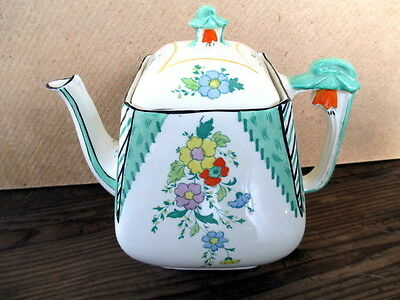 Art Deco Large Tea Pot.Burleigh Ware Imperial Maytime.Burgess & Leigh.British.