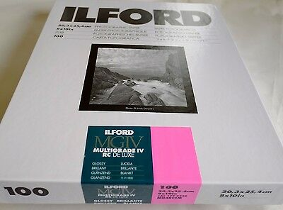 Ilford Multigrade Resin Coated Photo Paper 8x10 pack 100 sheets Gloss finish