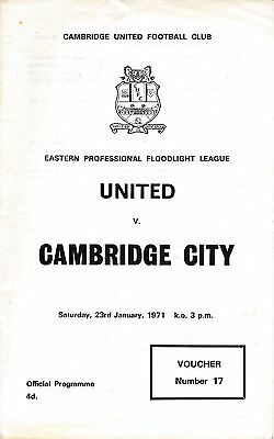 Cambridge Reserves v Camb City (EPFL) 1970/1 - United 1st season in the League