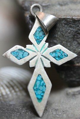 Taxco Mexico Sterling Silver Turquoise Chips Dangle Cross Pendant