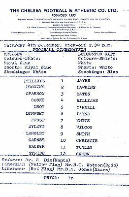 Chelsea Reserves v Leicester City (Combination) 1976/7