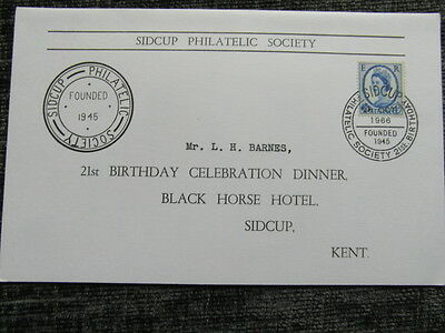 QC COLLECTION 1966 sidcup philatelic society 21st birthday menu card