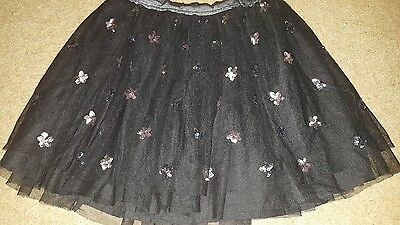 girls skirt Age 9 -10 years black sparkly Xmas party skirt