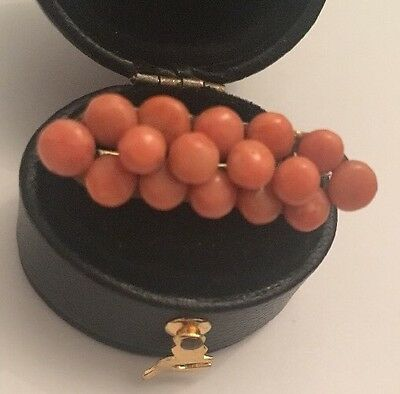Antique Salmon Red Coral Rondelle Bead & Gold Gilt Brooch Tri-rows Beautiful