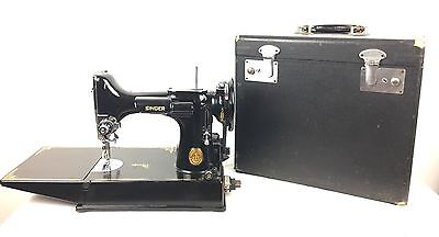 Vintage Singer Featherweight Portable Elec Sewing Machine 221k Fully Serviced