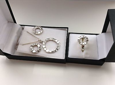 Ortak (MG) 925 Sterling Silver Necklace, Earrings & Ring in Original Boxes