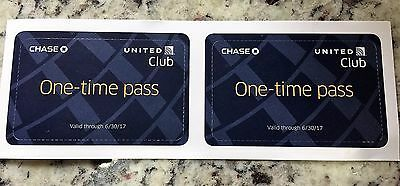 Two (2) United Airlines United Club Passes Expire 6/30/17 Free Wifi Food & Drink
