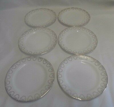Queen Anne Ridgeway Fine English bone china set of 6 side plates-white and gold