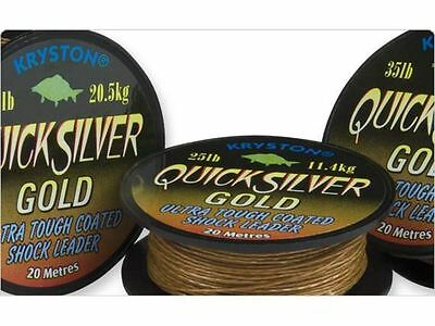 New Kryston Quick Silver Gold Carp Fishing Coated Shock Leader Hook Length Line