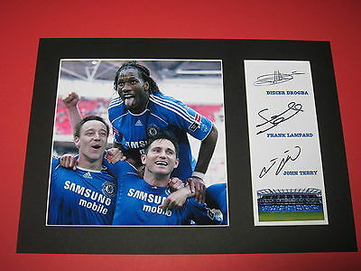 Didier Drogba Frank Lampard John Terry Chelsea A4 Signed Reprint Autograph Photo