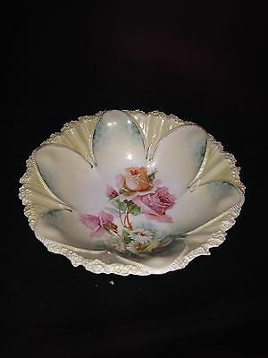 """Early 10 5/8"""" Rs Prussia Bowl W/roses"""