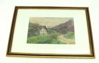 20thC Watercolour French Alps Painting -  French Lodge Picture Framed and Signed