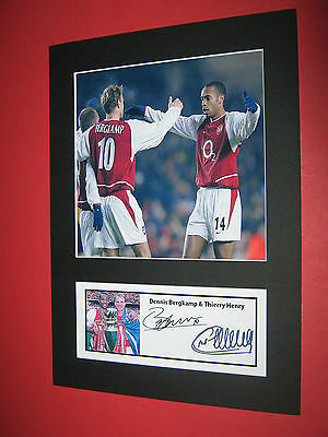Thierry Henry & Dennis Bergkamp Arsenal  A4 Photo Mount Signed (Pre-Printed)