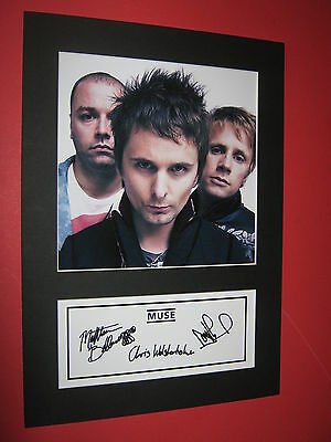 Muse A4 Photo Mount Signed Reprint Autographs Cd Drones The 2Nd Law Black Holes