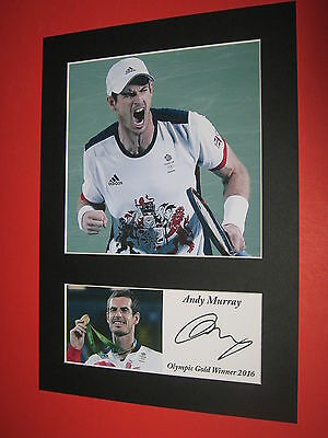 Andy Murray Tennis Olympic Gold Winner 2016 A4 Mount Signed Reprint Autograph