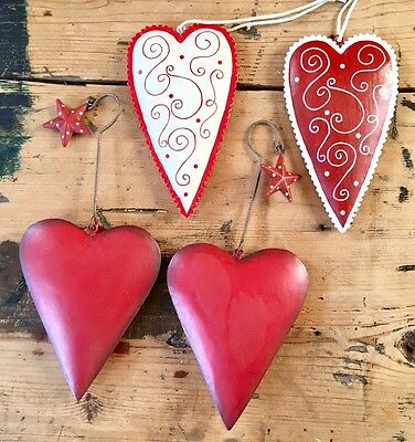 4x Hand Painted Heart Christmas Tree Decorations, Vintage Style, Red