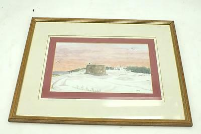 20thC Watercolour Coastal Painting - Winters Morning Picture Frame Signed GMS
