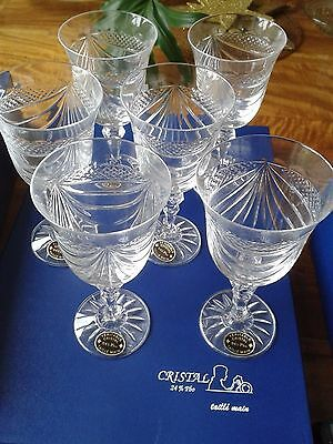 Beautiful Lead Crystal Glasses x 6 *Boxed & Signed* French 'Taille Main'