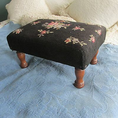 Vintage Wooden Footstool or Bench with Turned Legs & Needlepoint Top
