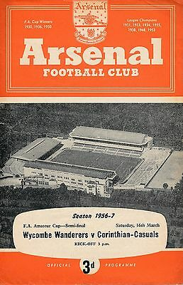 FA AMATEUR CUP SEMI FINAL 1957 Wycombe v Corinthians (@ Arsenal)