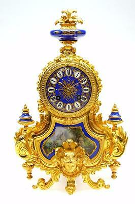 Wonderful Antique French Sevres Spelter Ormolu 8 Day Bell Striking Mantel Clock