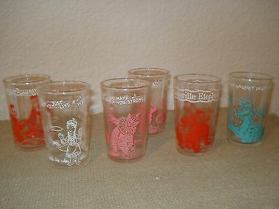 Six Vintage Howdy Doody And Flintstones Welch'S Jelly Jar Glasses