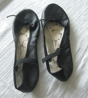 Ballet Makers Black Leather Ballet Shoes Elastic Straps Look NEW Size 5B Girls