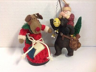 Santa Riding with a Bear with Bees and Bear in a Boot Christmas Ornaments