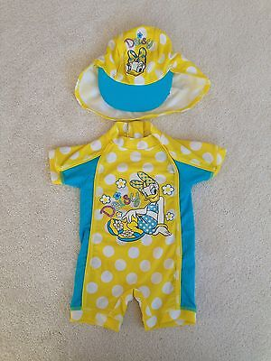 Girls Daisy Swimsuit And Hat 6-9months