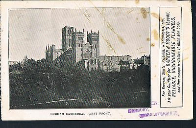 Advertising Card Barker& Moodys Leeds 1909 Durham Cathedral West Front - Tenbury