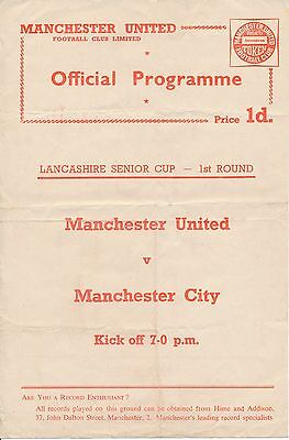 Man Utd v Manchester City (Lancs Cup) 1958/9 single sheet WITH token intact