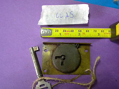 drawer or cupboard lock and key, 62 mm, antique , (LL25)