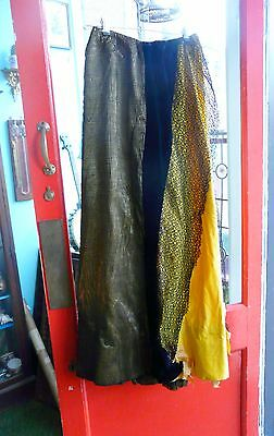 Victorian skirt with netting & needle point lace panel & netting. Yellow/ black