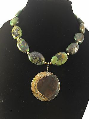 Turquoise Necklace with Antique Brass Pendant