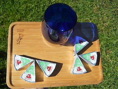 """Set of 4 Island Bamboo Wine and Cheese Snack Caddy Tray Appetizer Holder 10""""x7"""""""