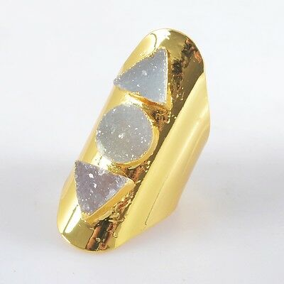 Size 6.5 Natural Agate Druzy Geode Ring Gold Plated T026000