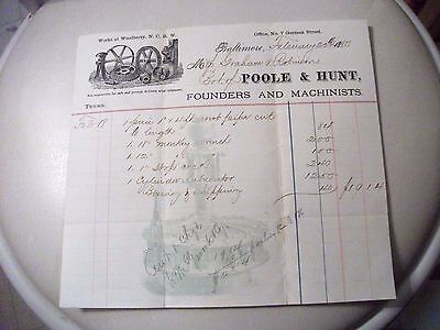 """Collectible Dated 1880 Bill Head """"POOLE & HUNT"""" Founders-Baltimore, Maryland"""