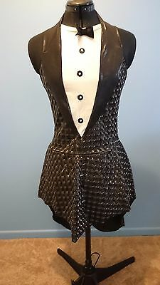 Roller / Ice Skating Costume Womens size 10/12 black silver tuxedo