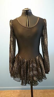 Roller / Ice Skating Costume Womens size 10/12 black gold