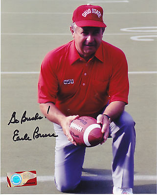 EARLE BRUCE  OHIO STATE BUCKEYES  ACTION SIGNED 8x10