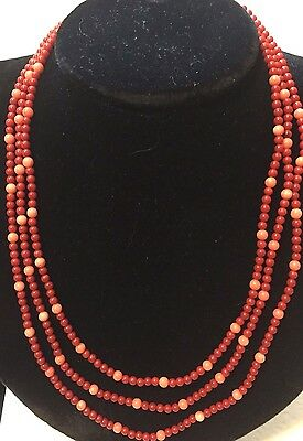 Genuine Red and Pink Coral Triple Beads 8mm Necklace earring set Navajo DJ made