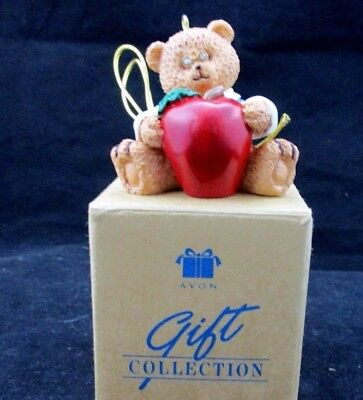 Avon Gift Collection Teacher Teddy Bear with Apple Package Topper Ornament