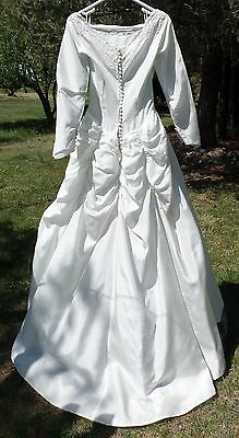 Vintage  Victorian Wedding Dress Gown - Bouffant Bustle - Lace, Beads, Sequins