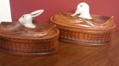 Lot of 2- ceramic Baskets with a Rabbit & Duck