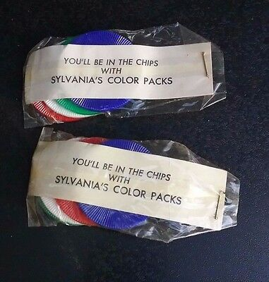 Vintage Sylvania Color Packs advertising premium collectible poker chips 1950s?